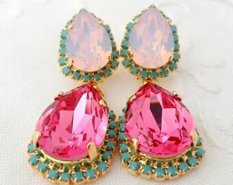 Pink and pink opal with turquoise Chandelier earrings, 14k Gold earrings, Dangle earrings, Drop earrings, Rhinestone  earrings, statement