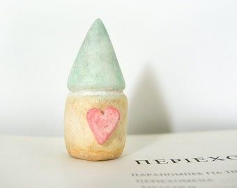 Little lovely clay house, miniature, green pastel, yellow, pink heart, air dry clay, sculptured, fairy, by antigonicreations