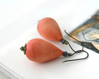 Autumn orange drop earrings, ombre, air dry clay, oxidized antiqued brass, reddish orange, grey faceted glass bead