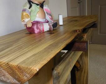 Pine & Walnut Console Table
