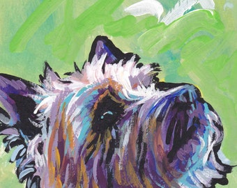 Cairn Terrier modern Dog art print pop dog art bright colors 8.5x11 inch