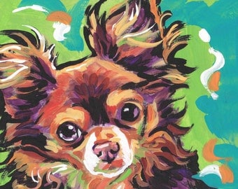 long haired Chihuahua portrait modern Dog art print of pop dog art painting bright colors 13x19