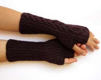 hand knitted mittens pure merino long arm warmers chocolate brown mittens fingerless gloves warm soft arm warmers wrist warmers gift