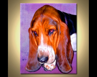 Basset Hound Portrait | Custom Basset Hound Portrait | Basset Hound Painting From Your Photos | Basset Hound Art by Iain McDonald