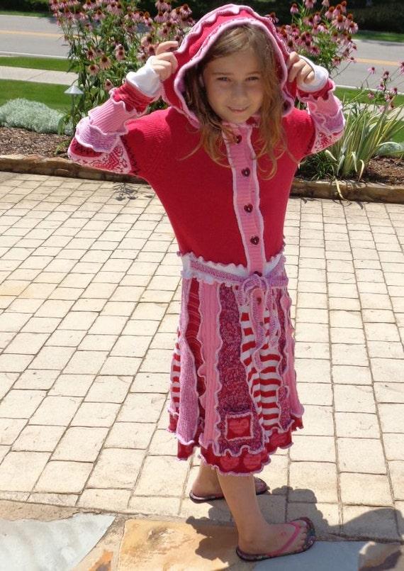 SALE child's medium hooded fairy elf coat red hearts puppy