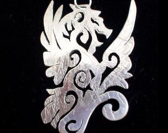 Green Dragon Silver Pendant