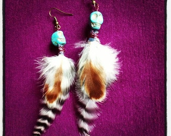 SALE - Turquoise Skull Bead Earrings with Cruelty Free Rooster Feathers
