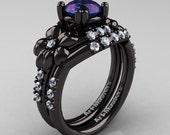 Nature Inspired 14K Black Gold 2.0 Ct Alexandrite Diamond Leaf and Vine Engagement Ring Wedding Band Set R245S-14KBGD2AL