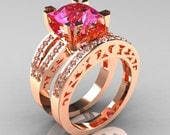 Modern Vintage 14K Rose Gold 3.0 Carat Pink Sapphire Diamond Solitaire Ring and Wedding Band Bridal Set R102S-14KRGDPS