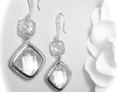 Crystal earrings - Clear - Long - Sterling Silver earwires - Bridal jewelry - Prom - Squares - Sparkles like Diamonds -