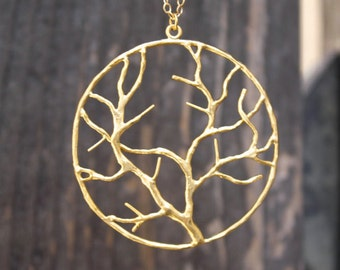 Gold Necklace Rose Gold Necklace Gold Charm Gold Tree Branch Pendant The Tree of Life