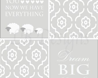 Set of 4 Gender Neutral Nursery Decor,  Gray and White Lamb Nursery Decor - 8x10s
