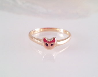 Cat Face K10 Yellow Gold Ring / size 3.5~6