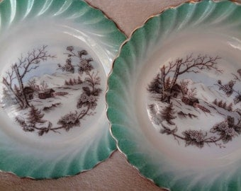 Vintage China Plates Cabin in the Snow Scene