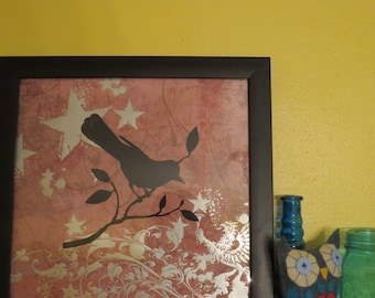 Little Birdy Screen Print / Ready to Hang in Frame / Bird Framed Art / Home Decor / Dorm Decor/ Framed bird print