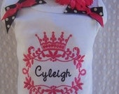 Personalized Baby Girl one piece or  ruffle edge T- Shirt, Royal Princess, with shoulder bows and coordinating headband