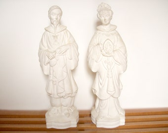 Large Plaster Chinoiserie Statues, Unfinished Pair, Blanc de Chine Style, Hollywood Regency