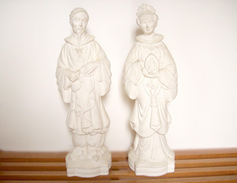 large plaster chinoiserie statues unfinished pair blanc de. Black Bedroom Furniture Sets. Home Design Ideas