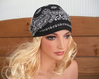 Womens Headband Fabric Headband Fashion Accessories Women Headwrap Bandana in Black with White Paisley - Choose color