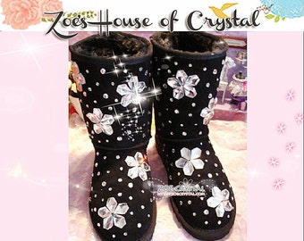 PROMOTION WINTER Black Sheepskin Fleech/Wool Boots with Flowers made with Swarovski / Czech elements