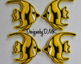 Yellow & Black Angel Fish Felt Embroidered Embellishment Clippie Cover SET of 4