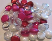 Hot PINK and White Mix of Gems, Nuggets, Flat Backed, 30ct. Mosaic Tiles - NEW Color Combination