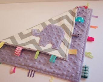 Modern girls CHEVRON elephant travel blanket - lovey sensory security ribbon minky - purple lavendar lavender lilac