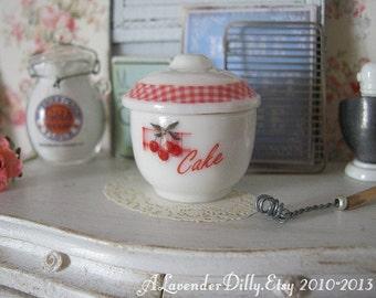 Vintage Cherries Cake Jar/Crock for Dollhouse