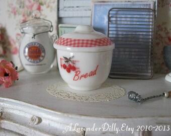 Vintage Cherries Bread Jar/Crock for Dollhouse