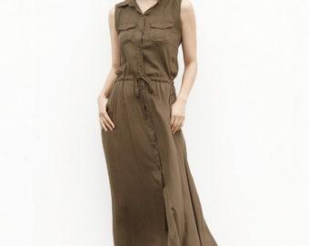 On Sale Size XXS Elegant Sundress Drawing Belt Waist Maxi Dress in Army Green - NC511-2