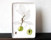 Mod White Italian Art Pottery Tile, Sgraffito Modernist Table Decor Vintage Wall Display, Signed Made in Italy