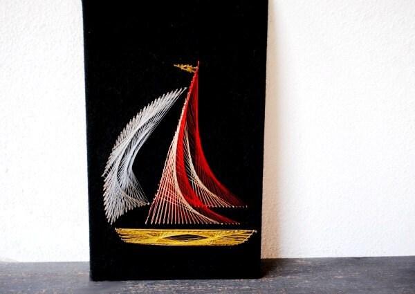 Industrial Art Sailboat Metal String Wall Plaque 3d Mid