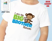 Monkey Big Brother Shirt or Bodysuit - Personalized Sibling Shirt
