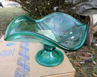 huge clean mid century danish modern teal green footed art GLASS BOWL COMPOTE