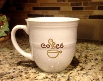 White or Red 14 oz Ceramic Coffee Mug Coffee Cup