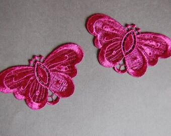 2pc Raspberry Butterfly Applique
