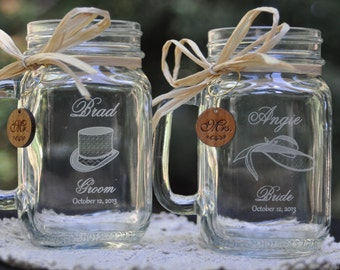 Bride and Groom Mason Jars with Top Hat and Bonnet Art with Wooden Mr and Mrs Charms and Choice of Handle Direction