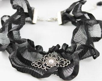 Black Ruffled Choker Collar, Victorian Choker Necklace