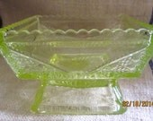 Stunning Vaseline Glass Square Footed Dish