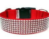 """Red Dog Collar 1.5"""" Rhinestone Dog Collar SIZE MEDIUM"""