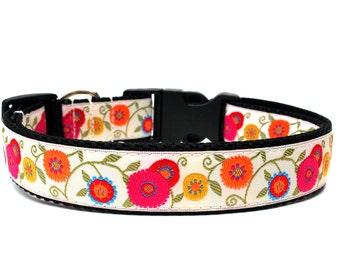 "Floral Dog Collar 1"" Flower Dog Collar SIZE SMALL"