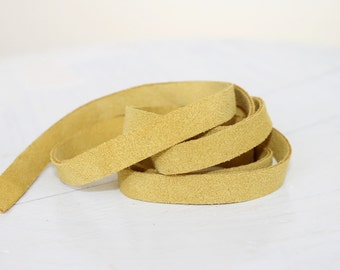 12-15mm  Yellow Suede Leather Strap, 1 Yard