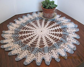 """Crochet Doily / Vintage Blue and White 22"""" Doily with a Scalloped Edge"""