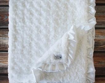 Minky Blanket, Blessing Blanket, Minky Blanket with Ruffle, Baptism Blanket, Christening Blanket, Blessing Blanket