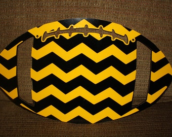 Pttsburgh Steelers, Missouri Tigers Football - Mizzou Door Hanger - Black and Yellow Chevron