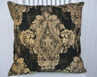 Black Gold Throw Pillow- 18x18 or 20x20 or 22x22 Pillow Cover -Traditional Design Decorative Throw Pillow with Black, Gold.