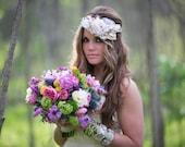 Blush Floral Halo, Wedding Crown, Boho Headwreath, Photoshoot Headpiece,  Muted pink floral wreath