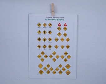the standard shapes and colours for warning signs (in australia) vintage print