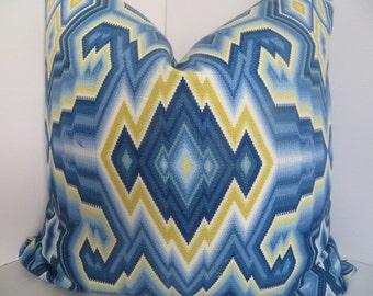 20X20 Pillow cover - Diamond Haze Capri Cotton- Decorative Pillow- Pillow cover- Yellow Blue Pillow - Blue Pillow Cover- Yellow Pillow