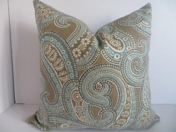20x20 Pillow Brown Teal Pillow Taupe Pillow Pillow Cover